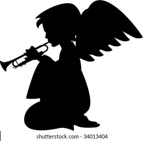 Angel Silhouette with Trumpet