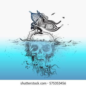 angel sitting on underwater skull, poster design . vector Illustration
