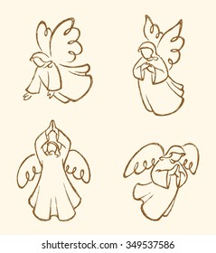 Angel Sketch Set Sepia-Abstract cute angels collection, traced from my hand drawn artwork