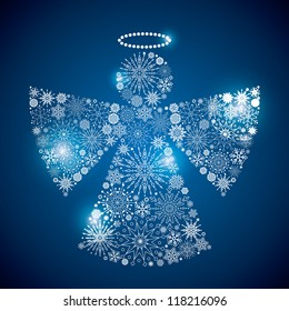 angel sphere consisting of a scattering of scintillating shining snowflakes