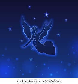 Angel with stars on a dark blue background. Glowing starlets and vivid spots on a night sky. Luminosity vector lines