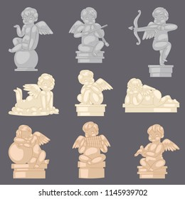 Angel statue vector angelic cupid sculpture and lovely baby character with wings on Valentines or wedding day illustration set of ancient marble monument isolated on background