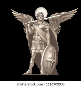 Angel with a sword on a black background