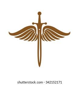 Angel Sword, Shield Sword Guardian Logo Template