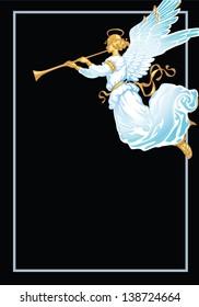 Angel with trumpet - corner vignettes. White on a black background