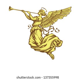 Angel with trumpet on a white background in three colors, right