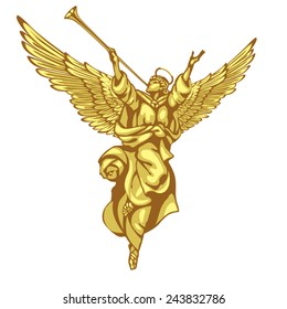Angel with a trumpet and a raised hand. In three colors on a white background