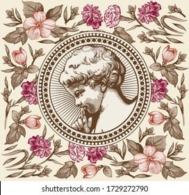Angel Wedding. Boy baby child birthday. Frame baroque. Drawing engraving. Vintage background realistic flowers. Wildflowers victorian. Carnation Apple isolated. Greeting card. Vector Illustration.