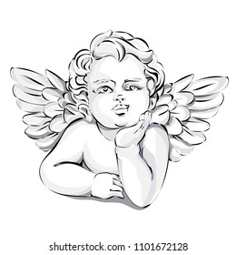 Angel wedding decor, Valentines day cupid, black and white vector illustration art