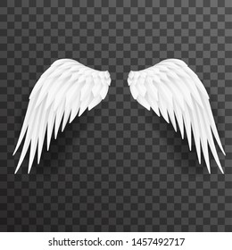 Angel white wings bird fly realistic 3d design decoration element transparent background vector illustration
