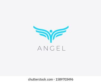 Angel wings. Abstract flying man logo design. Bird wings vector illustration.