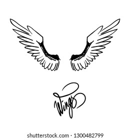 angel wings black and white tattoo lettering vector