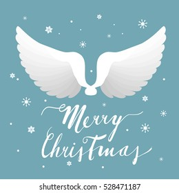 Angel wings, Christmas greeting card, vector illustration