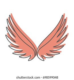 Angel wings doodle icon vector illustration for design and web isolated on white background. Wings vector object for labels, logos and advertising