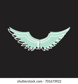 Angel wings doodle icon vector illustration for design and web isolated on black background. Wings vector object for labels, logos and advertising