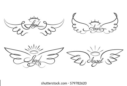a22b4a8a48404 Angel wings drawing vector illustration. Winged angelic tattoo icons. Wing  feather with halo,
