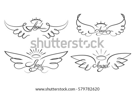 Angel Wings Drawing Vector Illustration Winged Stockvector