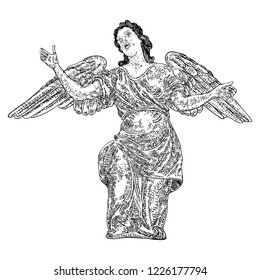 Angel with wings, flying or standing. Religious symbol of Christianity hand drawn vector.