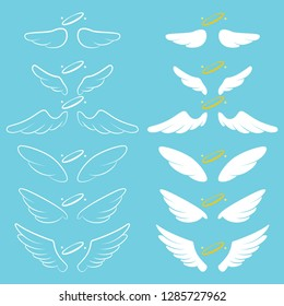 Angel wings with halo. Cartoon vector silhouette set isolated on background.