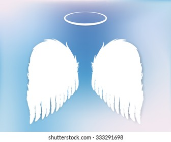 Angel wings and halo vector design elements on a pretty blue and purple sky background