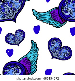 Angel wings with heart vector seamless pattern background. Boho chic background