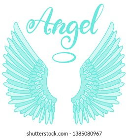 Angel wings icon with hand lettering word angel. Religious calligraphic text and symbol of Christianity. Blue vector iilustration in cartoon style for logo. Eps10