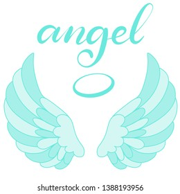 Angel wings icon with hand lettering word angel. Religious calligraphic text and symbol of Christianity. Vector iilustration in cartoon style for logo. Image in blue color. Eps10