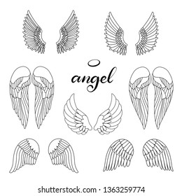 Angel wings icon set with hand lettering word angel. Religious calligraphic text and symbol of Christianity. Vector iilustration in cartoon style in black and white color for logotype. Eps10