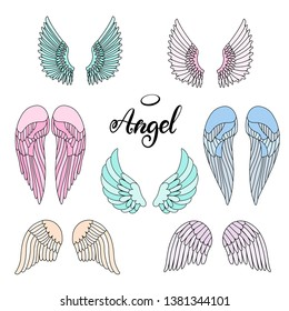 Angel wings icon set with hand lettering word angel. Religious calligraphic text and symbol of Christianity. Vector iilustration in cartoon style for logo. Colorful illustration. Eps10