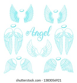 Angel wings icon set with hand lettering word angel. Religious calligraphic text and symbol of Christianity. Vector iilustration in cartoon style for logo in blue color. Eps10