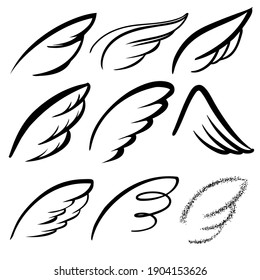 Angel wings icon set sketch, stylized bird wings collection cartoon hand drawn vector illustration sketch