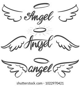 Angel wings icon sketch collection,  religious calligraphic text symbol of Christianity hand drawn vector illustration sketch