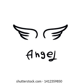 Angel wings icon sketch collection,  hand drawn vector