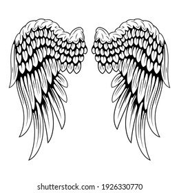 Angel wings isolated on white background. Black and white illustration of bird wings. Element for the logo.