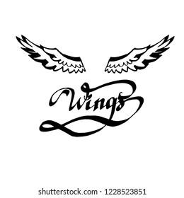 angel wings lettering vector