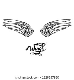 angel wings lettering vector