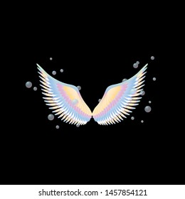Angel wings on black background in rainbow colors and bubbles, beautiful photozone