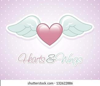 angel wings over violet background. vector illustration