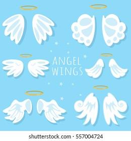 Angel wings set. Cartoon vector illustration on blue background.