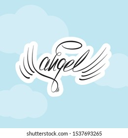 Angel wings sticker. religious calligraphic text symbol of Christianity hand drawn vector illustration sketch. Vector sketch of word Angel and two wings. Linear drawing. - Vector