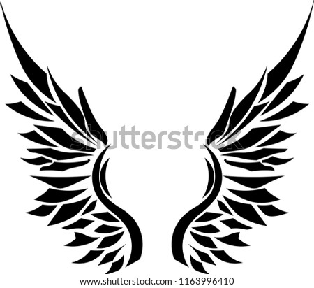 Angel Wings Tribal Tattoo Stock Vector Royalty Free 1163996410