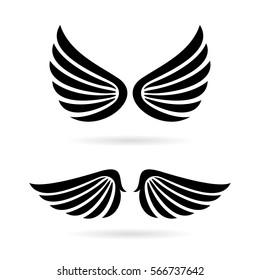 Angel wings vector icon set on white background. Flat web design wings icon for website, app or infographics materials.