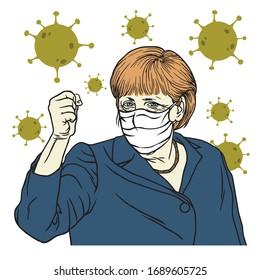 Angela Merkel Speech Wearing Mask Anti Coronavirus COVID-19 Cartoon Vector Portrait, Berlin April 1, 2020.
