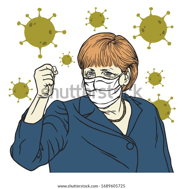 Angela Merkel Speech Wearing Mask Anti Coronavirus COVID-19 Cartoon Vector Portrait, Berlin April 1, 2020.