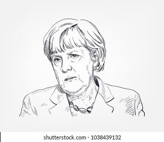 Angela Merkel vector sketch illustration portrait