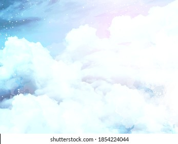 Angelic heaven clouds vector design background. Glamour fairytale backdrop. Plane sky view with white snow. Watercolor frozen style texture. Delicate card. Elegant decoration. Fantasy pastel color