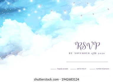 Angelic heaven clouds vector design background. Glamour fairytale backdrop. Plane sky view with white snow. Watercolor frozen style texture. Delicate card. Elegant decoration. Fantasy pastel rsvp