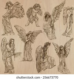 ANGELS. Collection of an hand drawn illustrations (vectors - pack no.2). Each drawing comprises of two or three layers of outlines, the colored background is isolated.