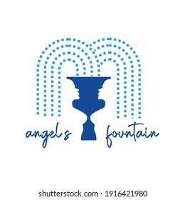 angels fountain line splash anggels water fall women water exclusive logo design inspiration