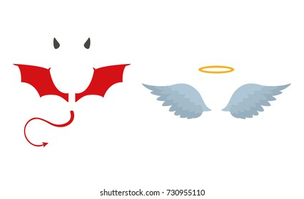 Angels halo and devils black and red horns. Vector illustration